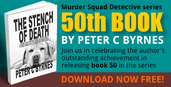 Celebration of Peter Byrnes' 50th Murder Detective Series book