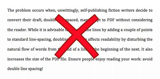 Don't use double line spacing for ebooks