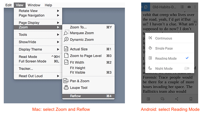 How to Reflow text on Mac and Android