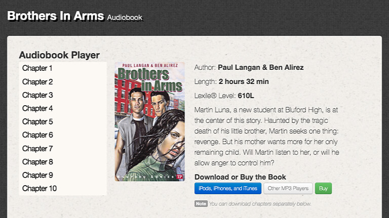 Example page from The Bluford Series of audio Books