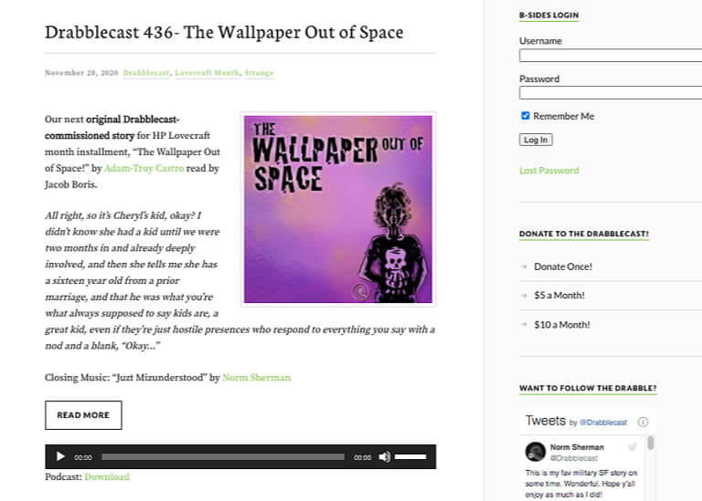 The Drabblecast audio podcasts page screenshot