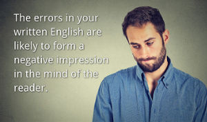 Man embarrassed by making a mistake in written English.