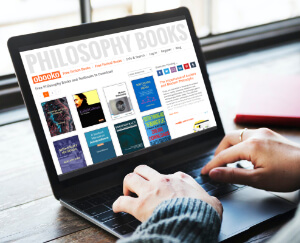 laptop screen displaying philosophy books page on obooko website