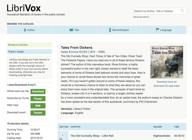 Example page displaying free public domain audiobook from Librivox