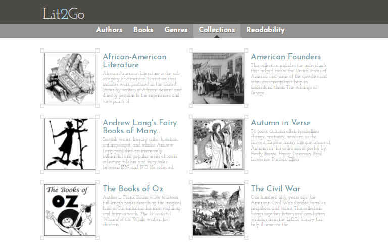 Example page from Lit2go audiobooks site