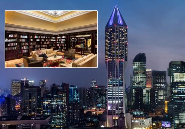 World's Highest Library at the JW Marriot Hotel, Shanghai China.