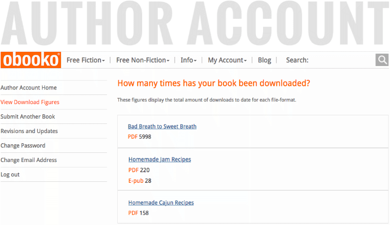 view of Obooko author account page