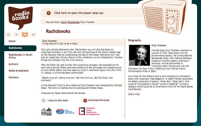 radiobooks homepage screenshot