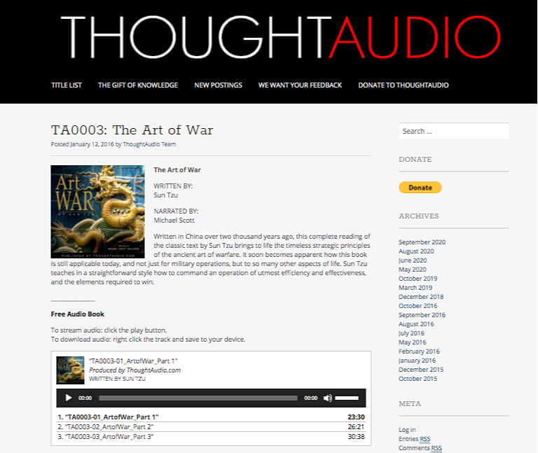 Example page from Thought Audio site