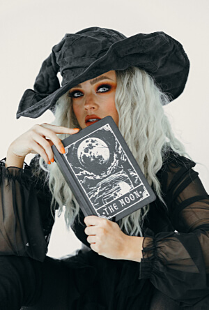 Woman dressed up in witch costume